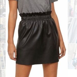 Faux patent leather paper bag skirt with pockets